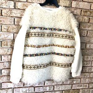 ZARA fuzzy faux fur sweatshirt